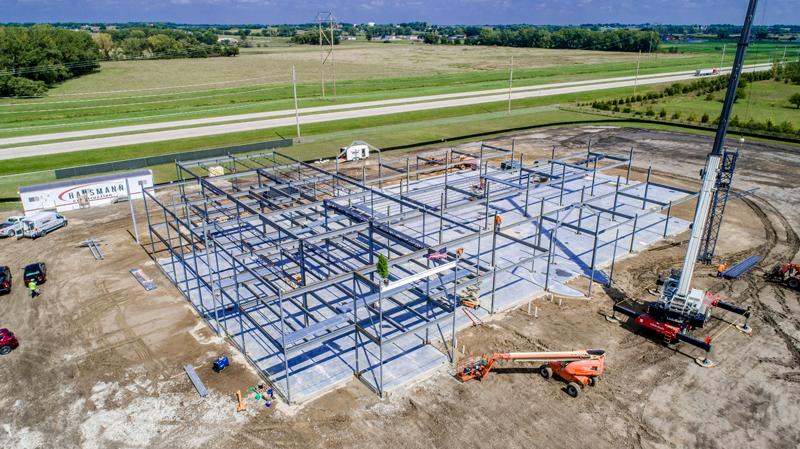 Drone photography for Pillen Family Farms building construction